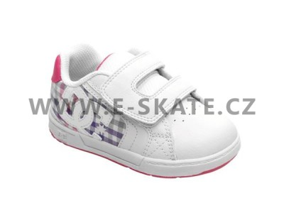 Boty DC Net Velcro Toddlers White Pink Plaid